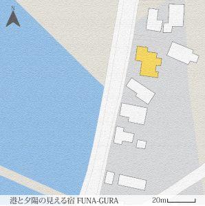 港と夕陽の見える宿配置図
