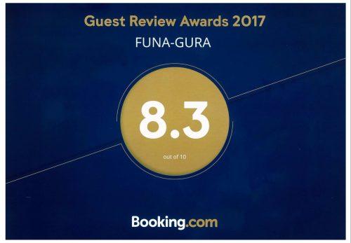 伝泊・奄美「港と夕陽の見える宿 FUNAGURA」がBooking.comクチコミアワード2017を受賞いたしました!